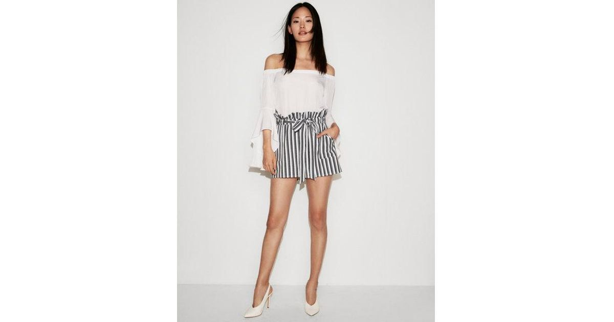 f1a59ab9a07a0e Express High Waisted Paperbag Shorts in White - Lyst