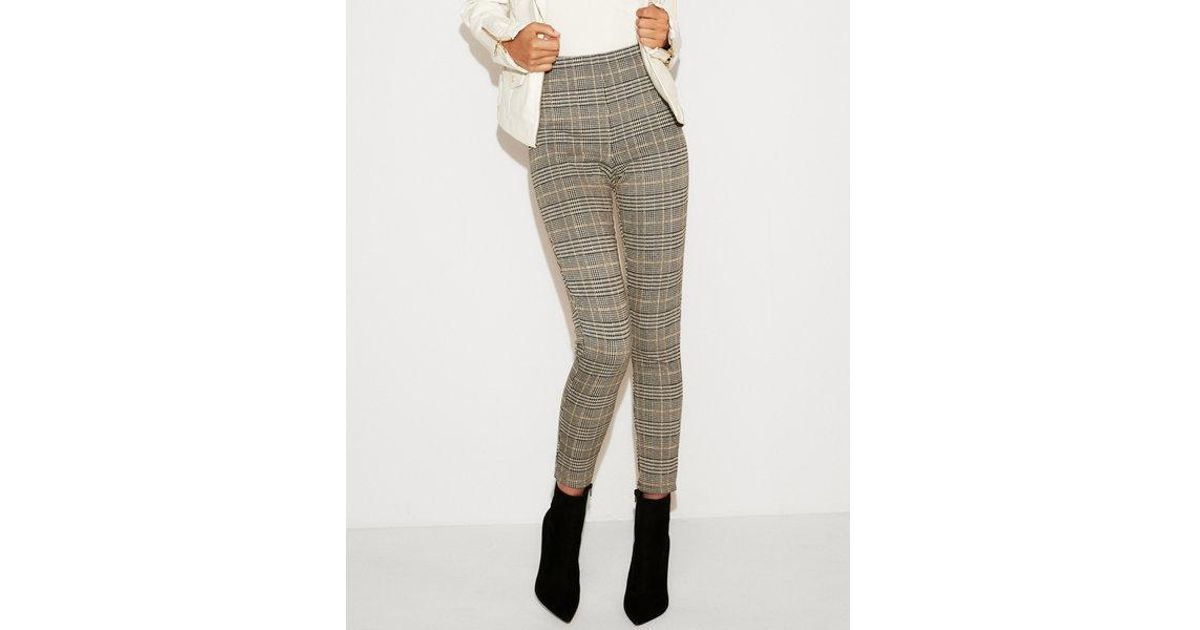 70250f86d7ed8f Express High Waisted Plaid Cropped Pull-on Leggings - Lyst