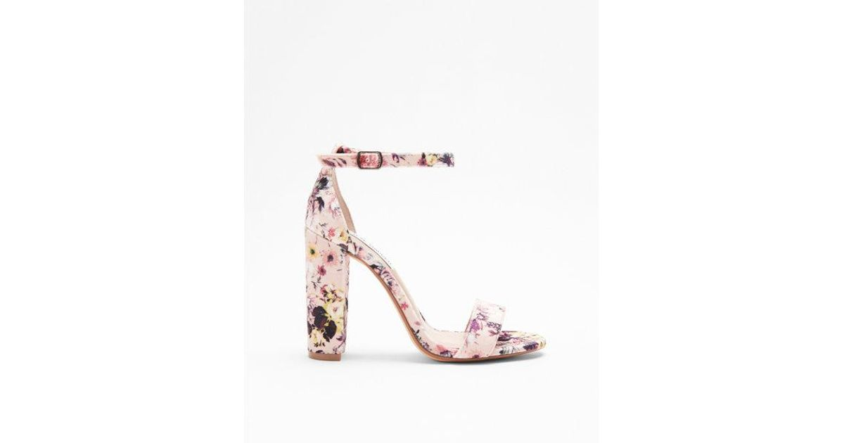 a1507291f4f Express - Pink Steve Madden Floral Carrson Heeled Sandals - Lyst