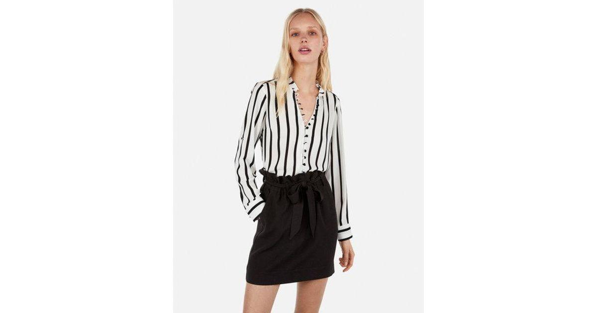 6e7392c5c8a96 Lyst - Express Petite Slim Fit Striped Ruffle Collar Portofino Shirt in  Black