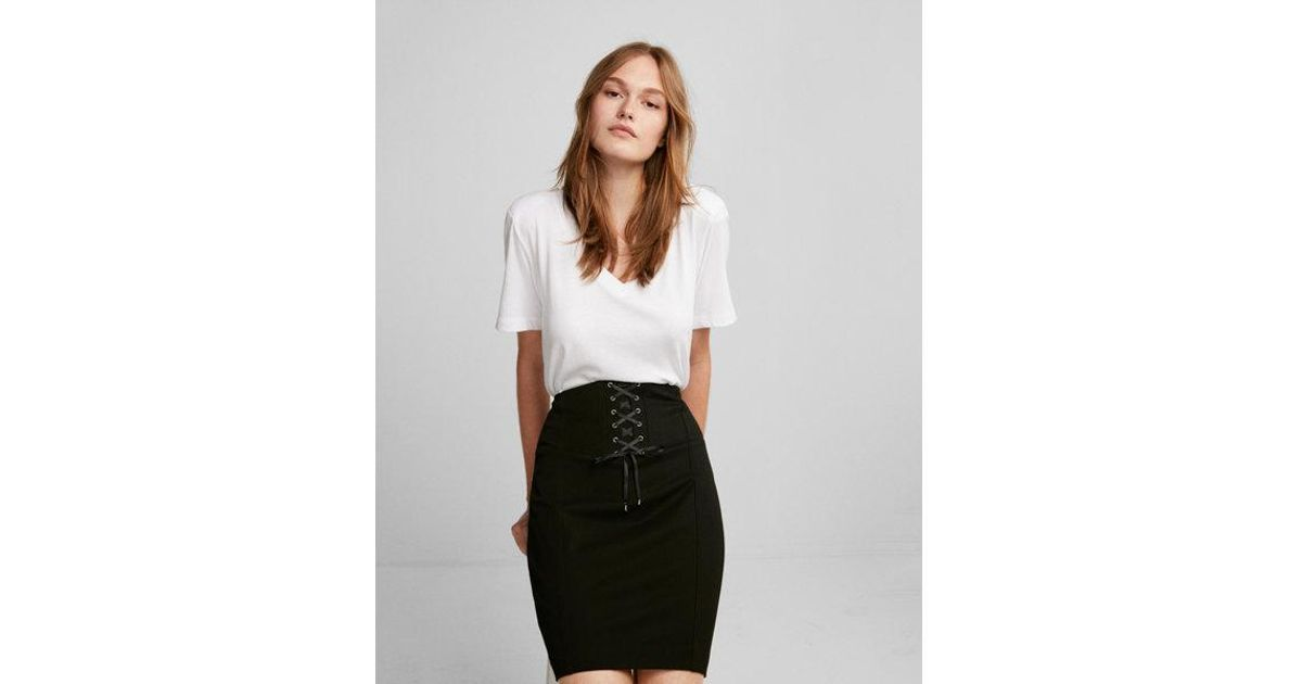 544dc7486 Express Petite High Waisted Corset Pencil Skirt in Black - Lyst