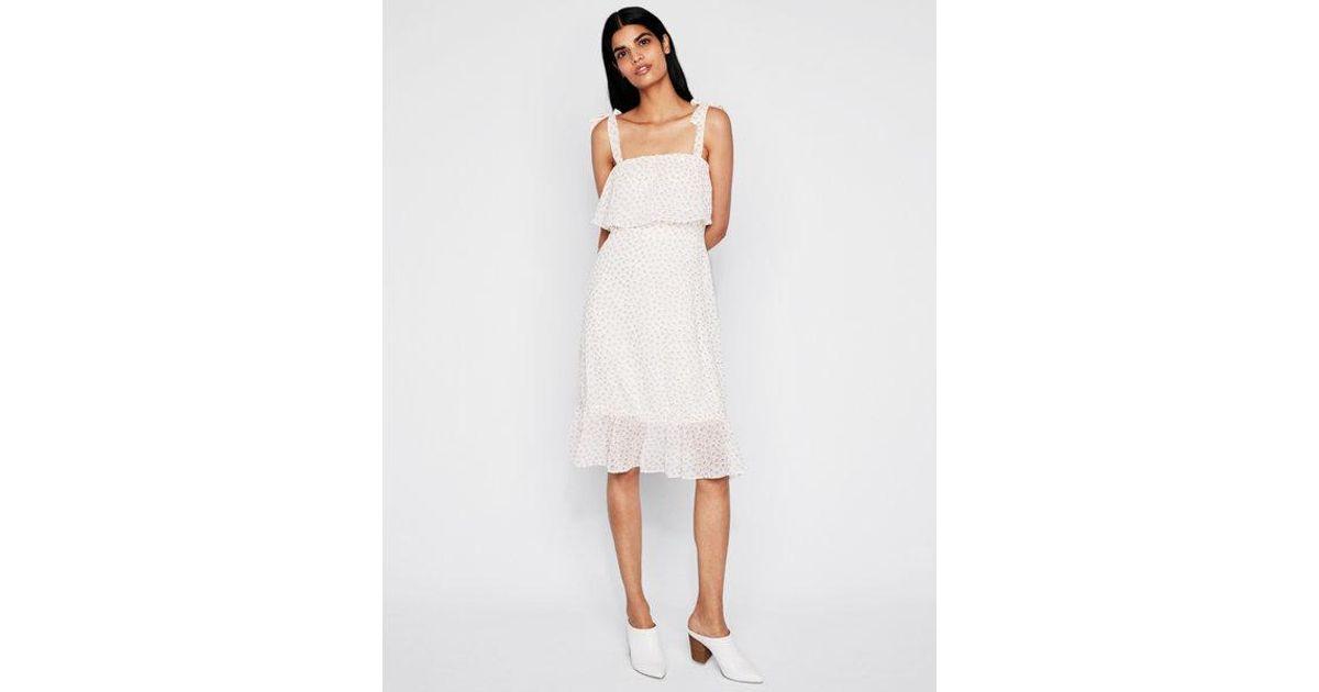 242268ffe1c99 Lyst - Express Tie Shoulder Midi Dress in White