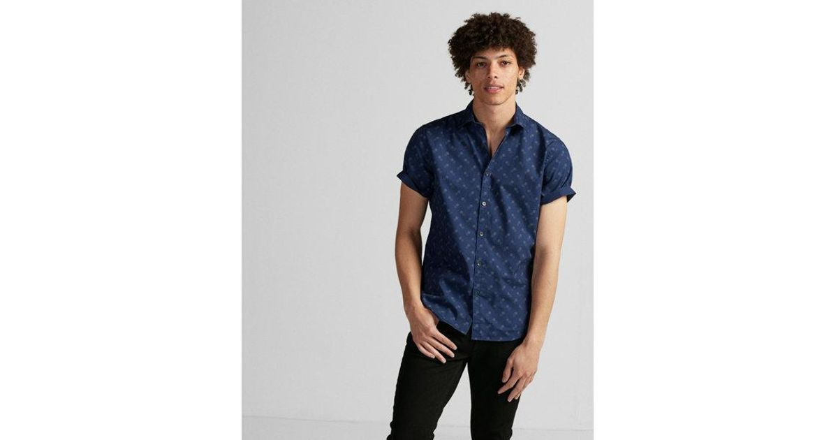 Lyst express soft wash print cotton shirt in blue for men for Express wash roma