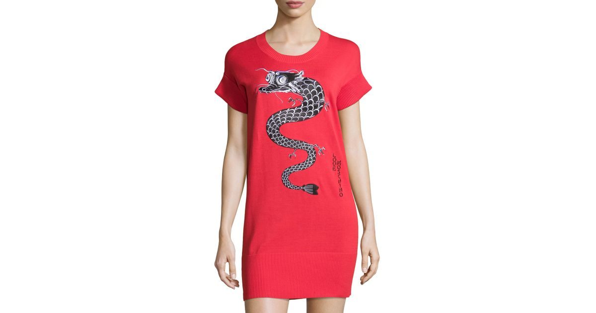 66407cb2b9d Lyst - Love Moschino Short-sleeve Dragon Graphic Dress in Red