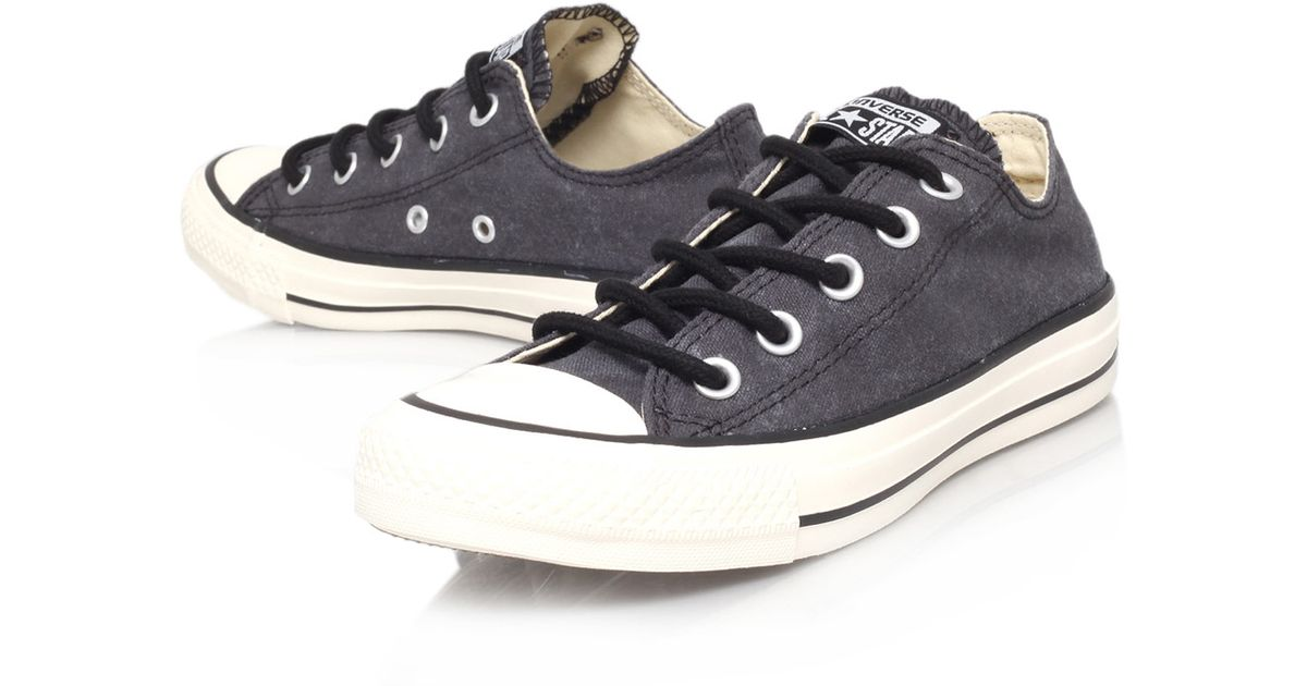 6d825c63318 ... rubber shoes lace color hi 5996b 2069e  denmark converse black chuck  taylor all star round lace low trainers in black lyst 86374 36d43
