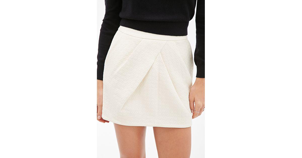 forever 21 contemporary mateless233 origami skirt in white