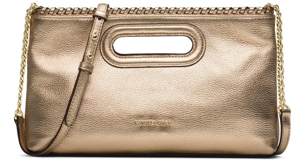 michael kors rosalie large metallic leather clutch in metallic lyst. Black Bedroom Furniture Sets. Home Design Ideas
