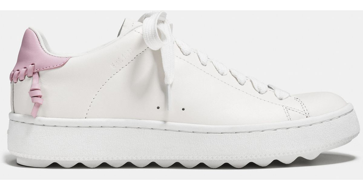 Coach C101 Leather Low Top Sneakers In Pink White Petal