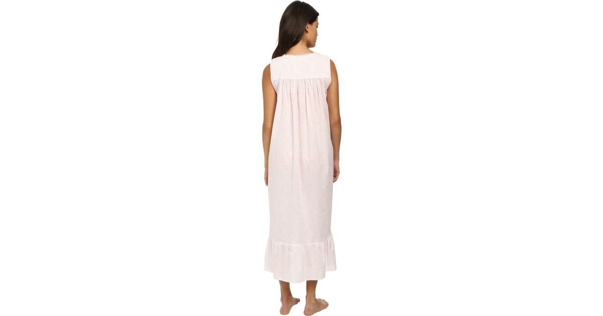 e31cae1ec2 Lyst - Eileen West Printed Lawn Sleeveless Ballet Nightgown in Pink
