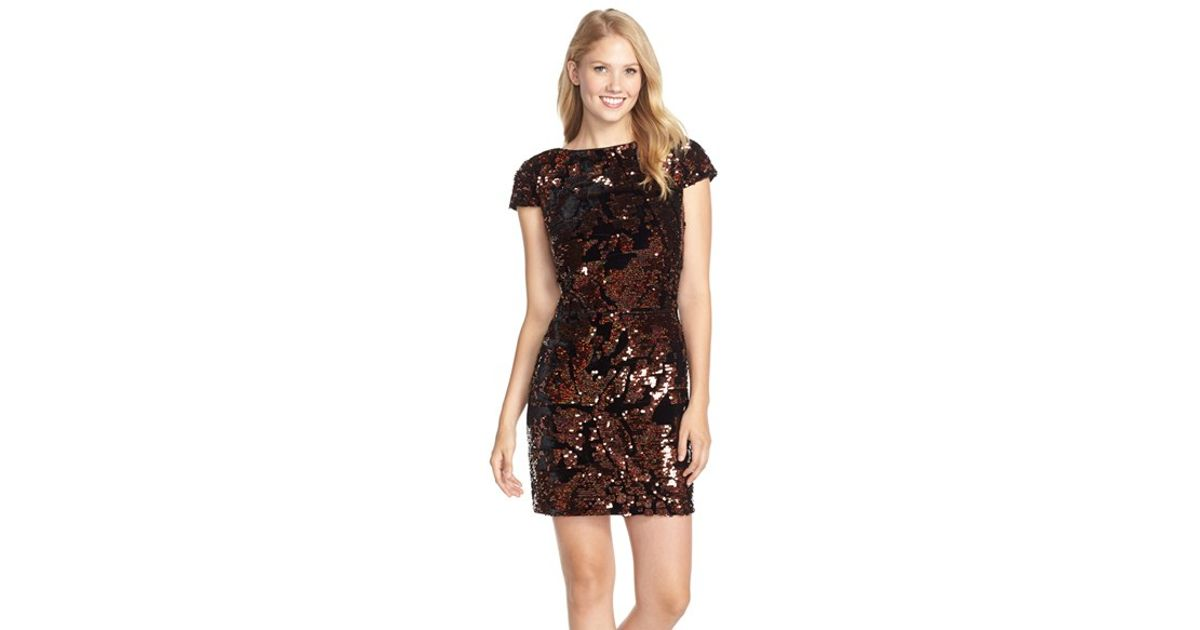 8e1154a4 Vince Camuto Sequined Sheath Dress in Brown - Lyst