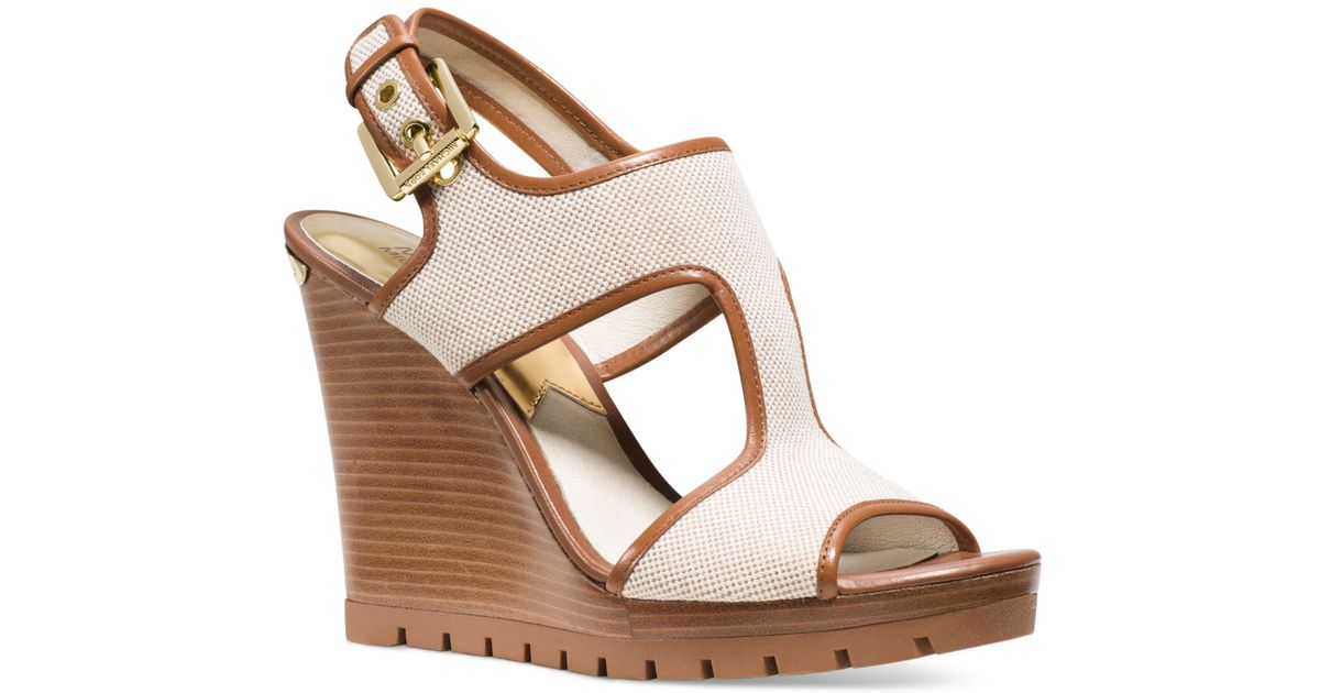 f47c3fd66a2c Lyst - Michael Kors Michael Gillian Mid Wedge Sandals in Natural