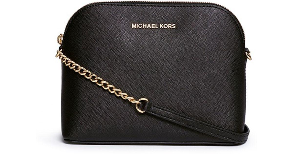 f1e7c19ac84b9 Lyst - Michael Kors  cindy  Large Saffiano Leather Crossbody Bag in Black