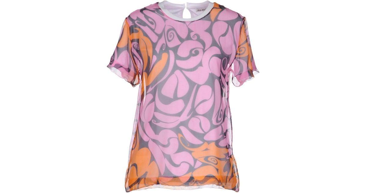 Miu miu t shirt in pink lyst for Miu miu t shirt