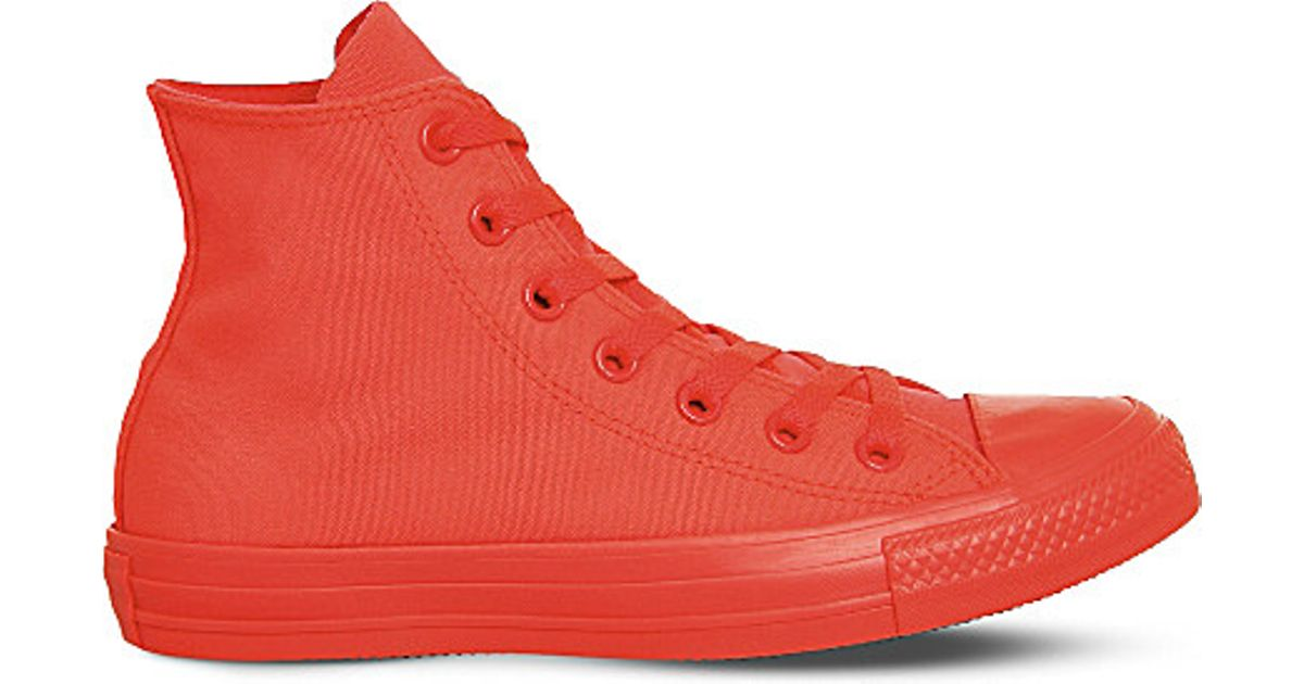 Lyst - Converse All Star Canvas High-top Trainers in Orange 6aa333a85