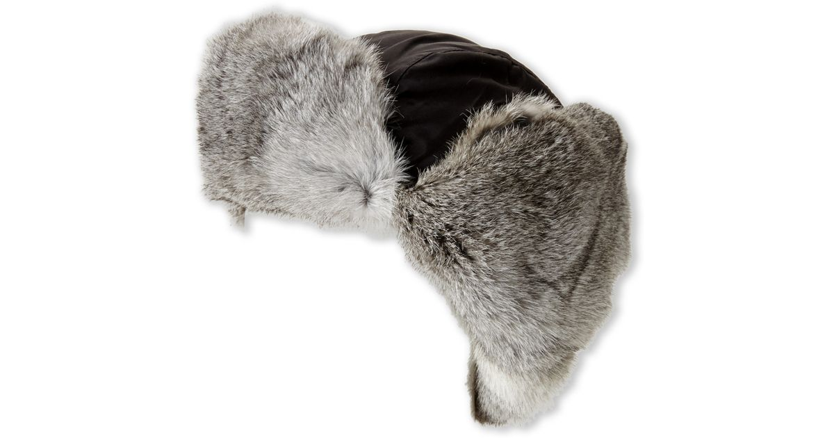 Crown Cap Real Rabbit Fur Lined Bomber Hat In Gray For Men