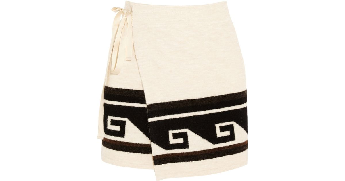 2191e729a4 Isabel Marant Sienna Knitted Wrap Mini Skirt in Black - Lyst