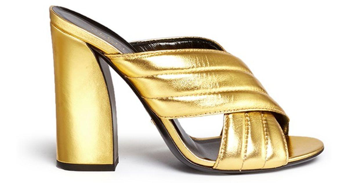 51c58829c04 Lyst - Gucci  webby  Ribbed Crisscross Metallic Leather Mule Sandals in  Metallic