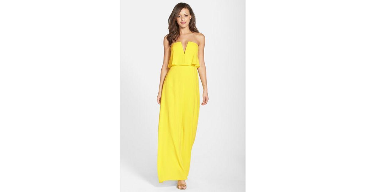 Buy❤ yellow strapless maxi dress