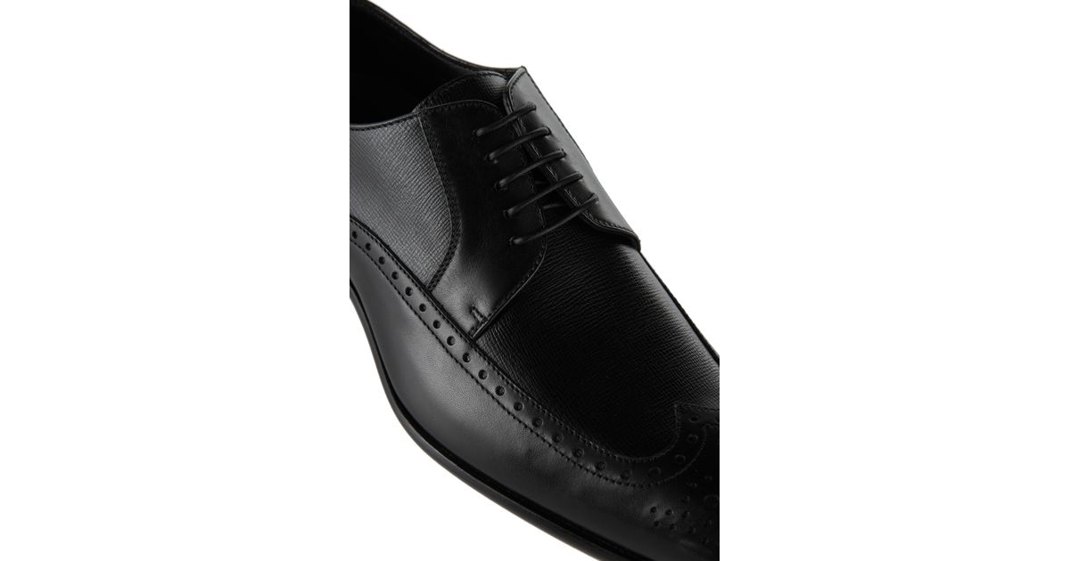 Lyst Boss Mannio Italian Calfskin Derby Wingtip Dress Shoes In Black For Men