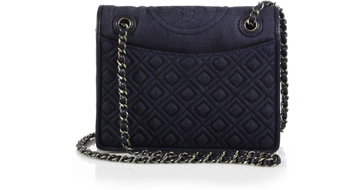 021cb4da674 Tory Burch Fleming Medium Quilted Denim Shoulder Bag in Blue - Lyst