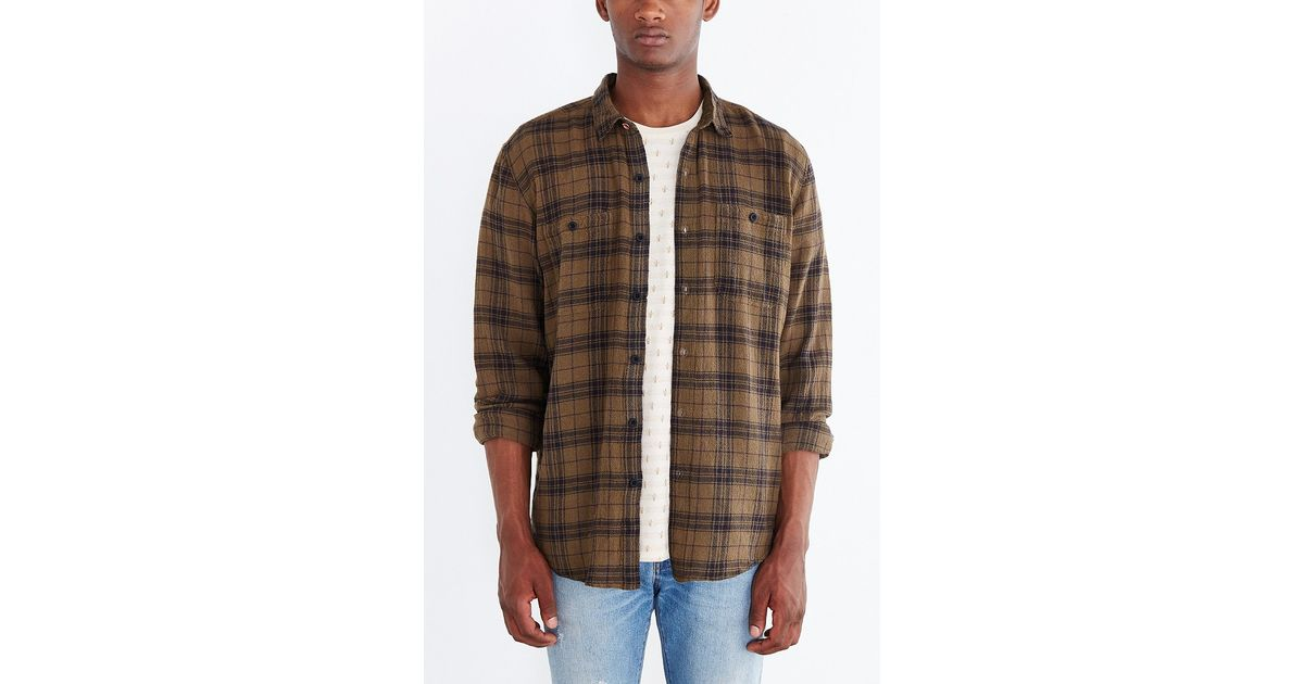 Koto Uka Overdyed Plaid Button Down Shirt In Green For Men