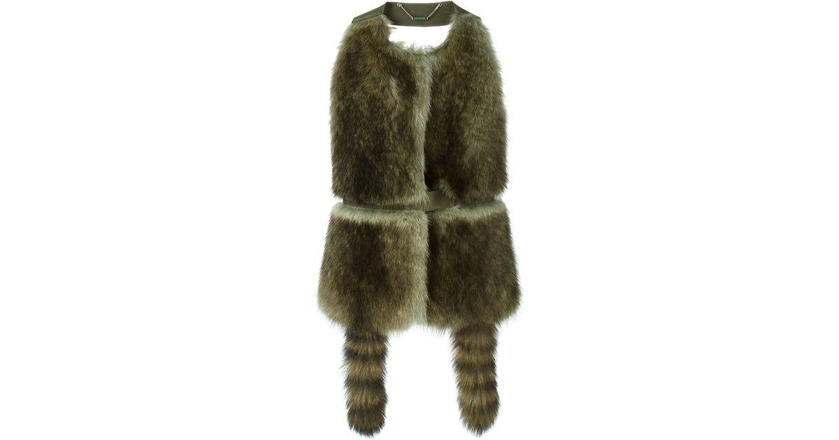 Givenchy Halter Neck Fur Gilet In Floral Green Lyst