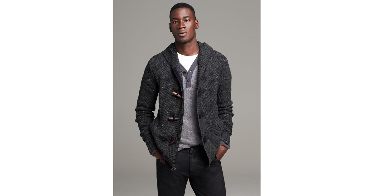 95a2c9a1c59a01 Banana Republic Heritage Cable-Knit Hooded Sweater Jacket in Gray for Men -  Lyst