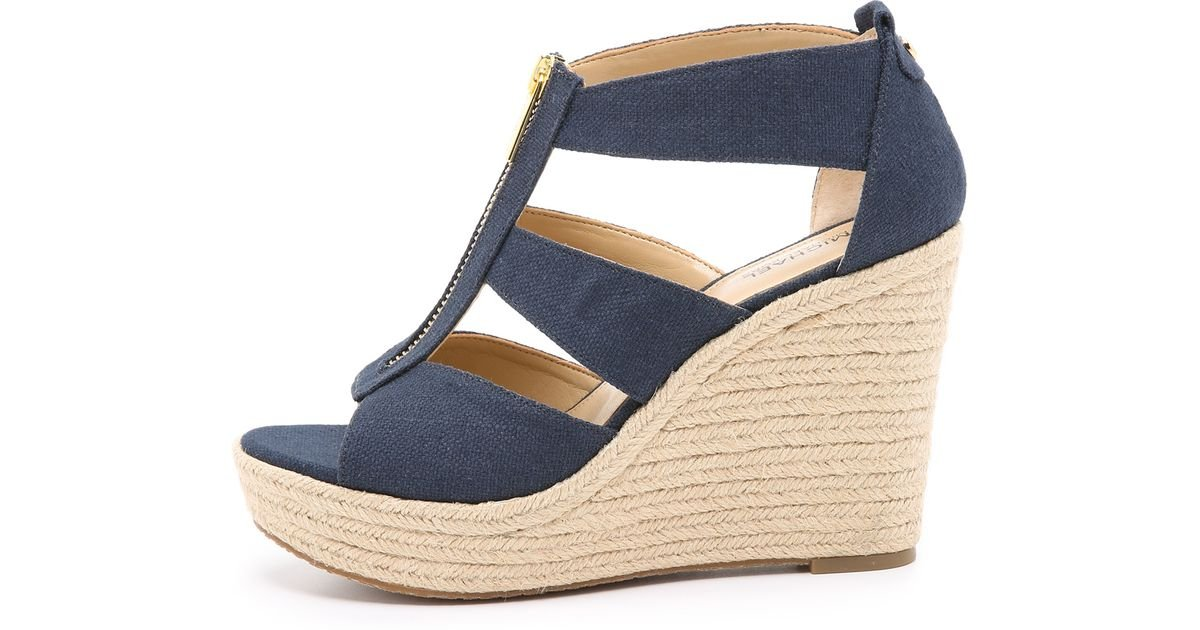 Michael Michael Kors Damita Wedge Sandals In Blue Navy