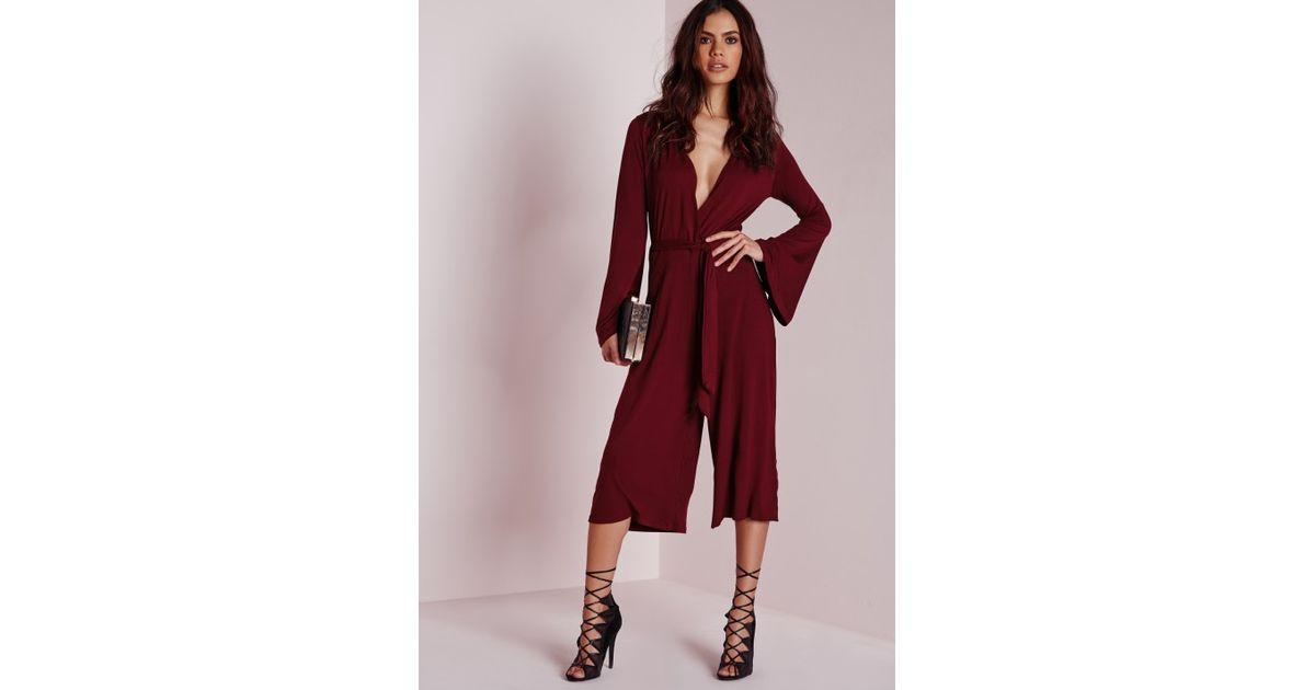 4d32ac7bdba Lyst - Missguided Jersey Wrap Belt Culotte Jumpsuit Burgundy in Purple