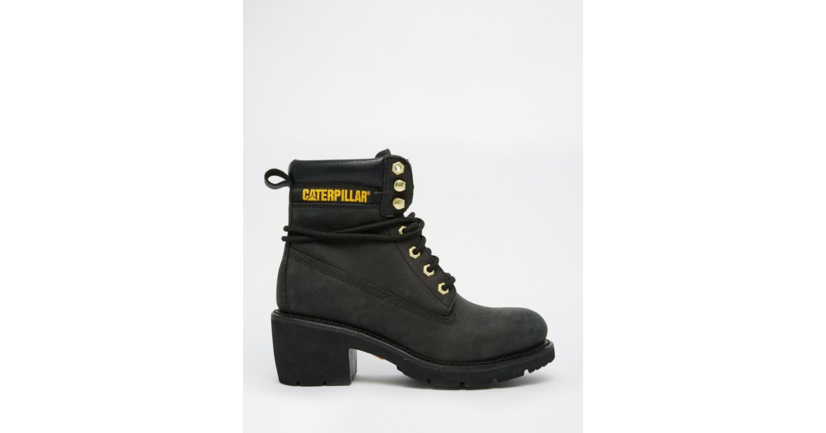 3f8457894df Caterpillar Ottawa Black Heeled Leather Ankle Boots - Black in Black - Lyst
