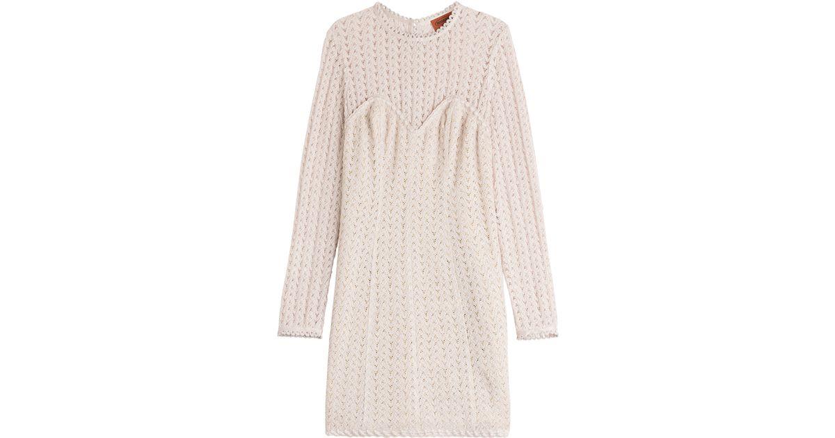 Missoni Crochet Knit Dress With Wool - Rose in Beige Lyst