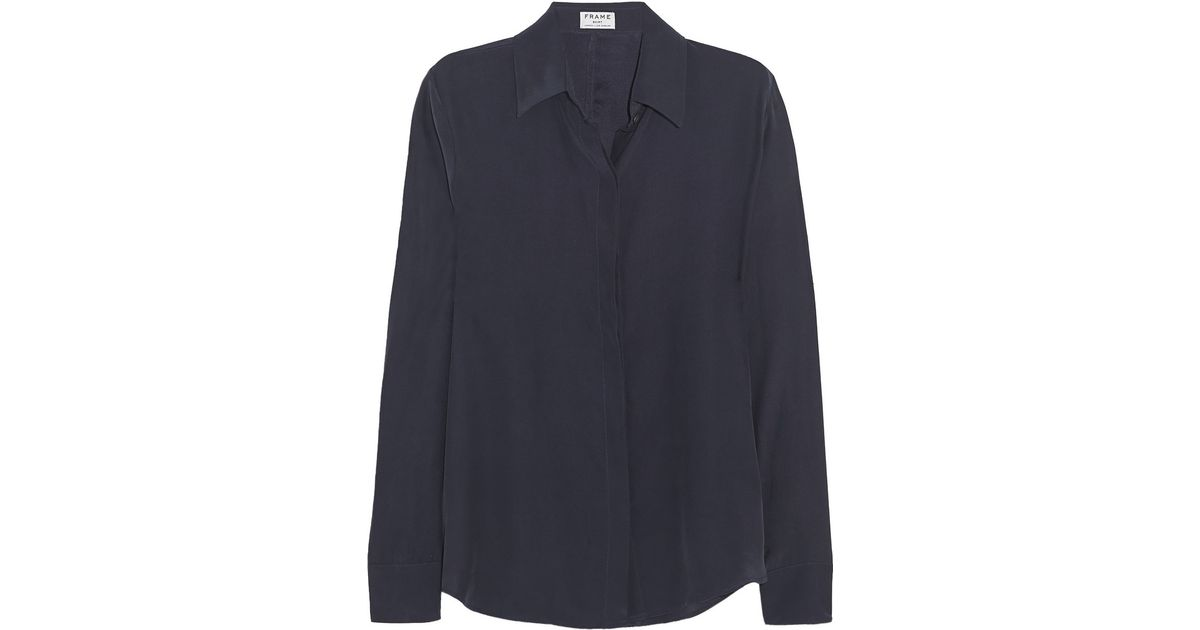 8b9f25aa915bf2 Lyst - FRAME Le Classic Washed Silk-Charmeuse Shirt in Blue