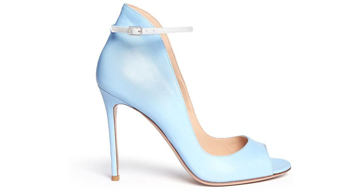 bb40e7de156c Lyst - Gianvito Rossi Peep Toe Leather Ankle Strap Pumps in Blue