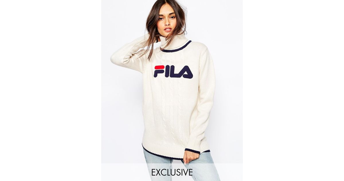 f46da98bd7744 Fila High Neck Oversized Jumper With Front Logo in Natural - Lyst