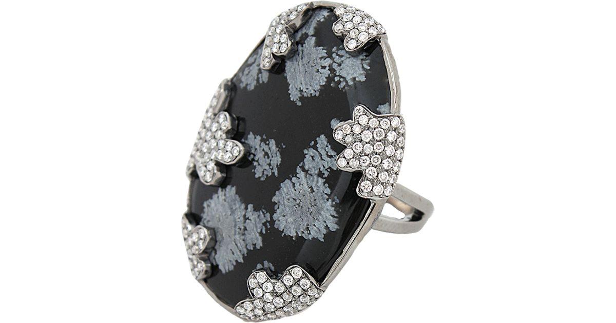 White Snowflake Obsidian : Colette snowflake obsidian ring in white lyst