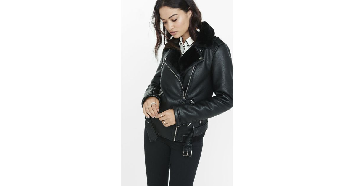 Lyst Express Black Faux Fur Lined Biker Jacket In Black