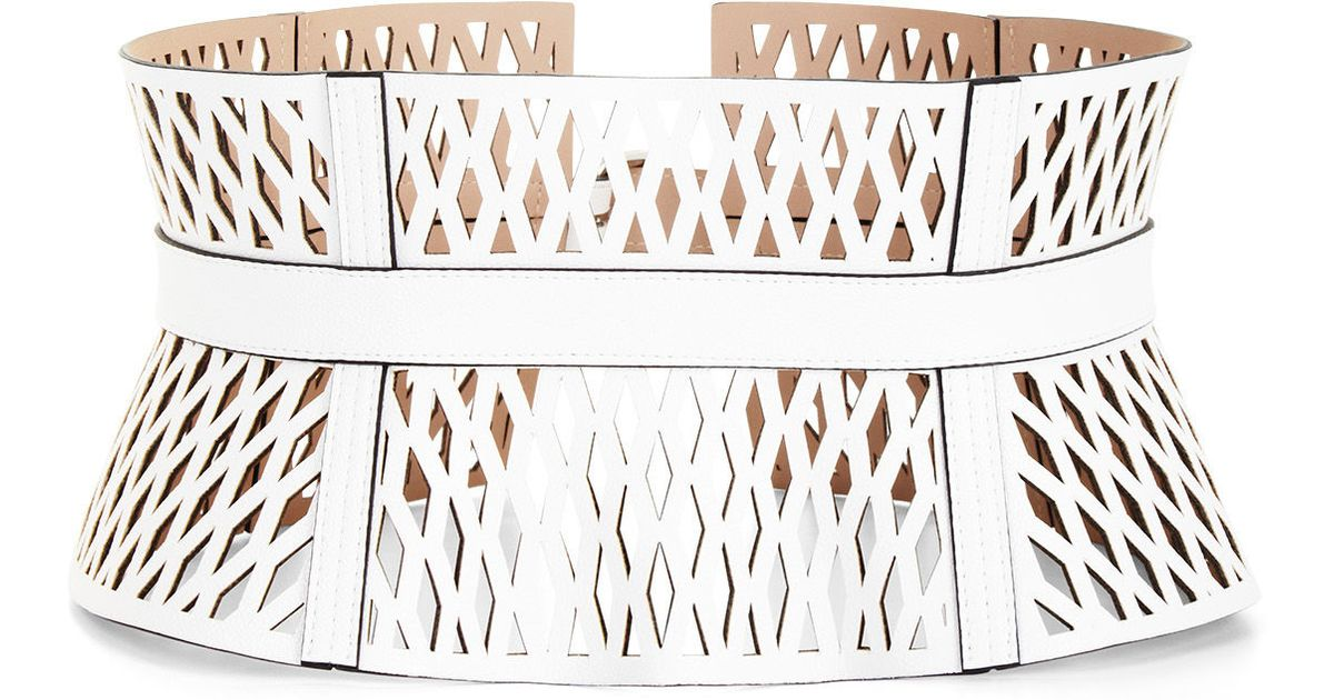 7be3377054 Lyst - BCBGMAXAZRIA Cutout Faux-leather Corset Waist Belt in White