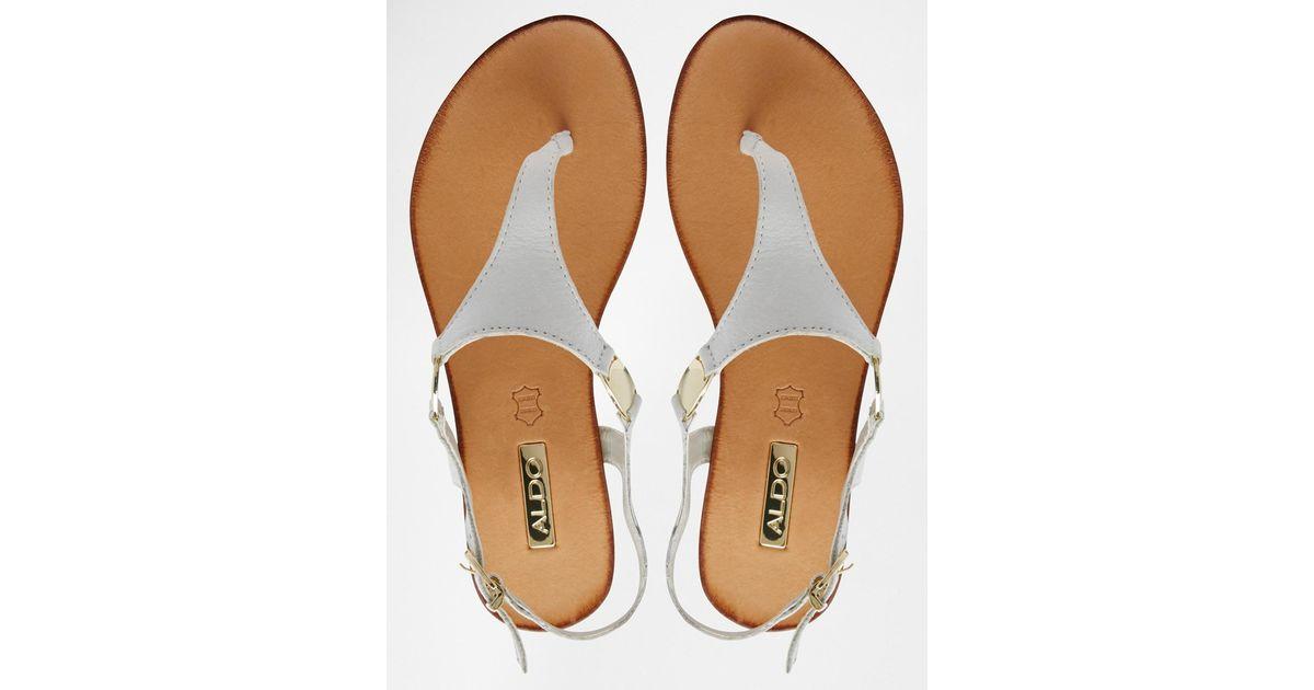 127e4e74b Lyst - ALDO Bellia White Leather Thong Flat Sandals in White