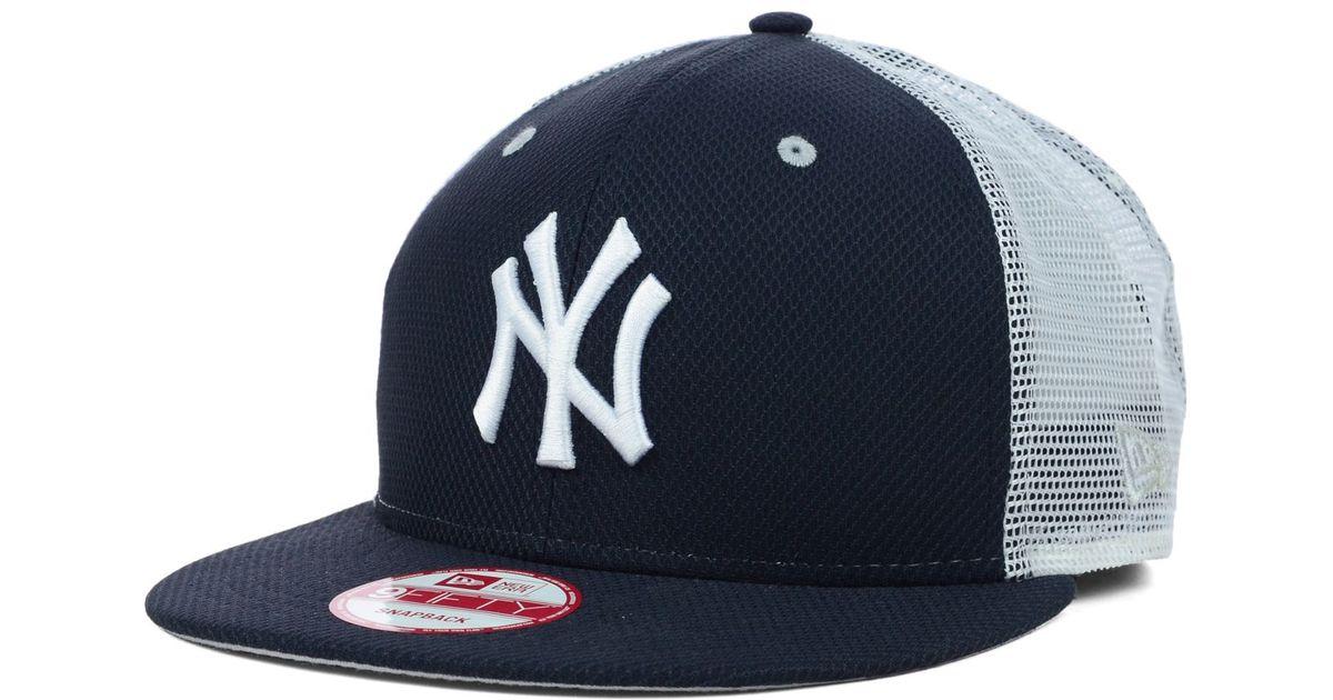 info for 68a25 755d5 ... ireland lyst ktz new york yankees mlb diamond mesh 9fifty snapback cap  in blue for men