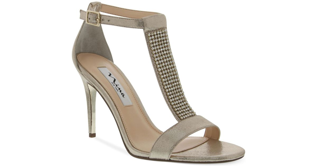 Lyst - Nina Cabaret T-strap Evening Sandals in Brown
