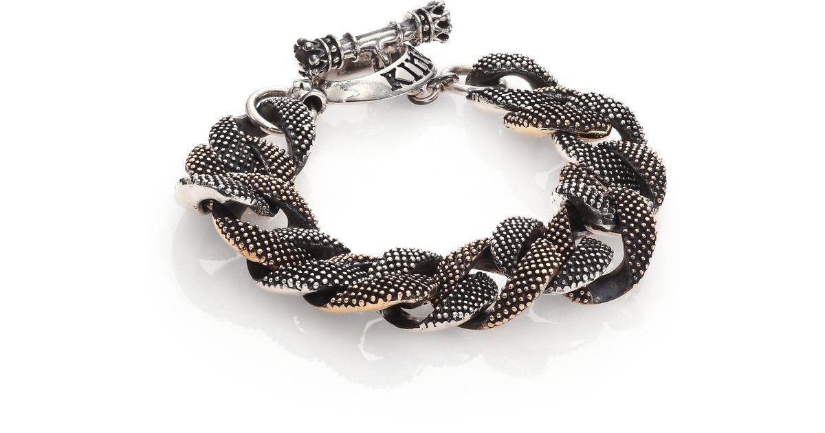 King baby studio two tone rivet link bracelet in metallic for King baby jewelry sale