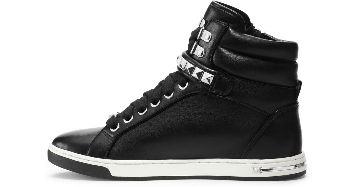 5e16b3359ff Lyst - Michael Kors Glam Studded Patent-leather High-top Sneaker in Black