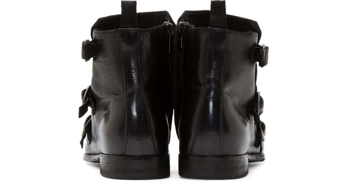 bcbcccd82caf9 Lyst - Alexander McQueen Black Monk Strap Ankle Boots in Black for Men