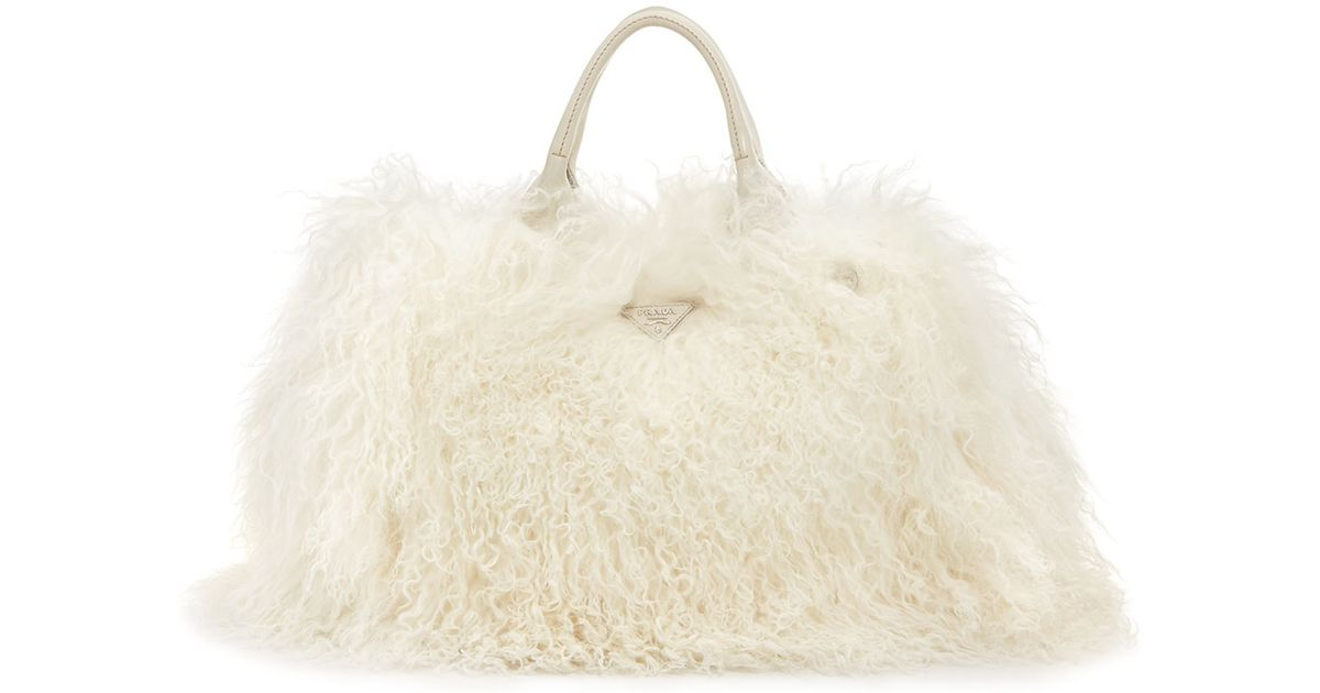 Lyst - Prada Mongolian Lamb Fur Tote Bag in White 4dab27175f768