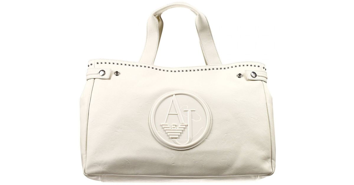 b35556bea71 Lyst - Giorgio Armani Handbag Bag Ecoleather Soft With Studds Shopping Big  in White