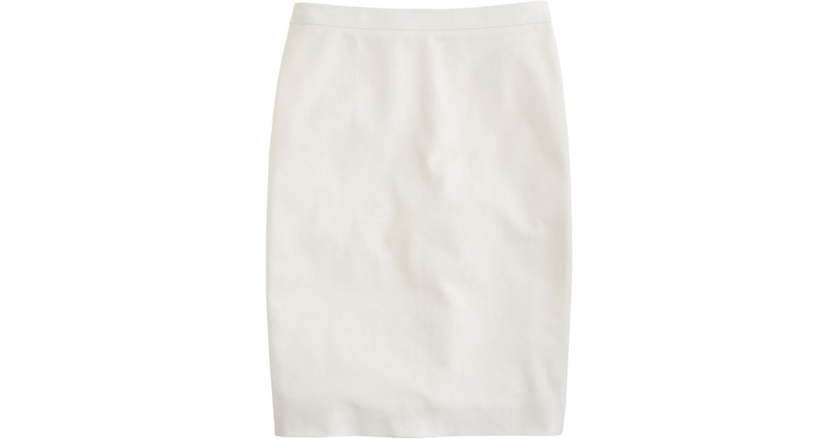 j crew pencil skirt in stretch cotton in white lyst