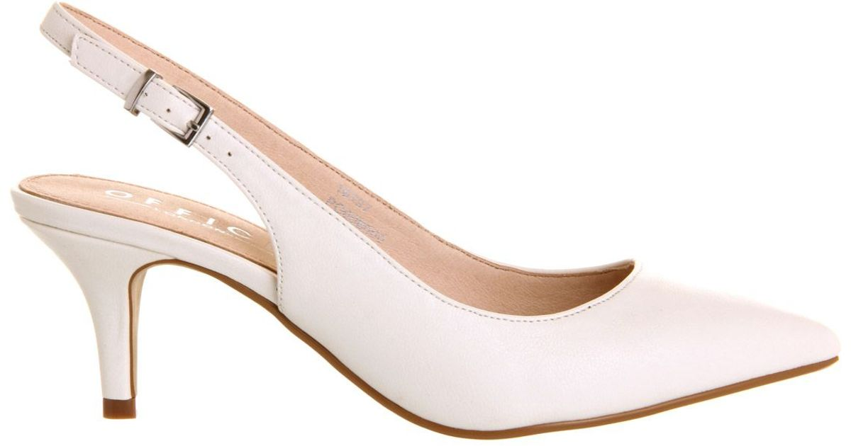 office date slingback mid heel court shoes in white