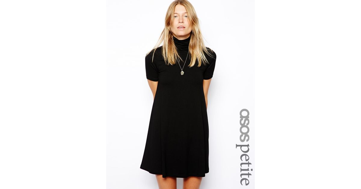 Lyst Asos Exclusive High Neck Swing Dress With Short Sleeves In Black