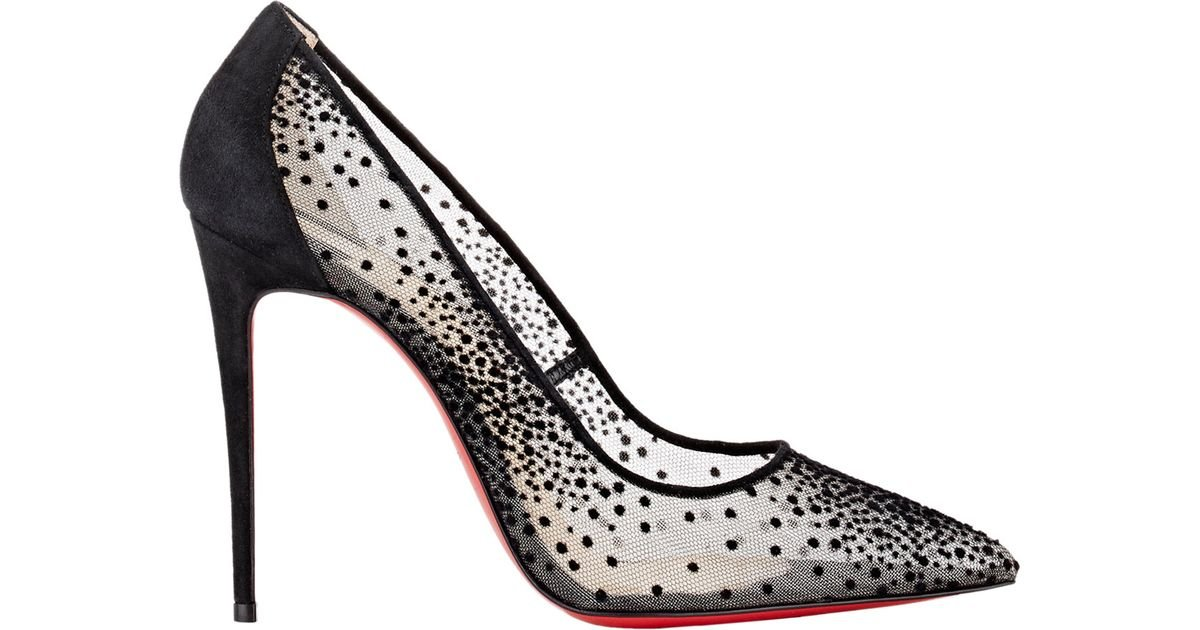e283decdd14f Lyst - Christian Louboutin Follies Lace and Chiffon Pumps in Black