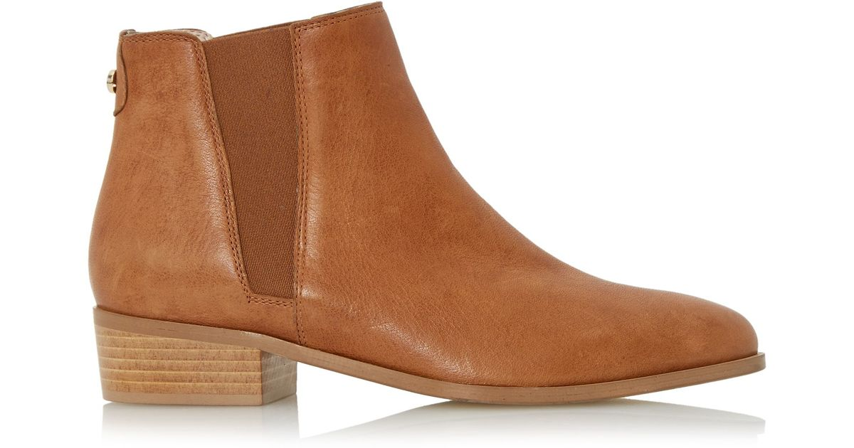 dune pearce pointed toe leather chelsea boots in brown lyst